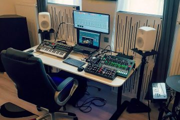 Adam's home studio, using acoustic panels.